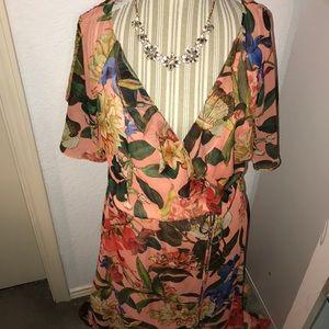 Gibson Latimer Peach Wrap Dress